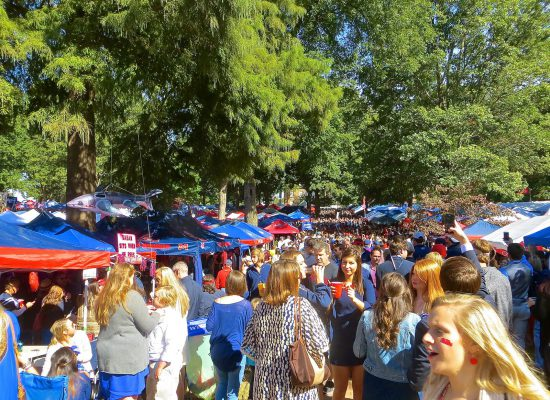Ole Miss Rebels fans at tailgate lot