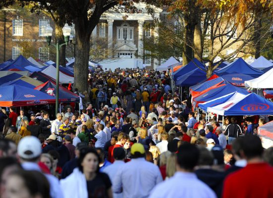 Ole Miss Rebels fans tailgating before football game