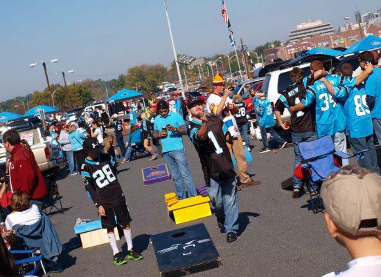 Carolina Panthers fans tailgate