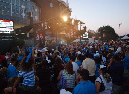 Carolina Panthers fans outside Bank of America Stadium