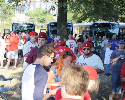 Philadelphia Phillies fans buses