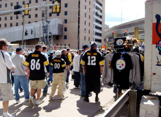 fans tailgating at Pittsburgh Steelers game