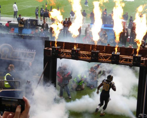 Los Angeles Rams player entrance with fire display