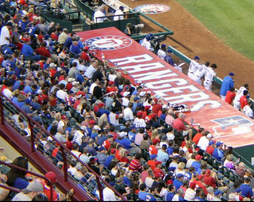 Texas Rangers fans at the game