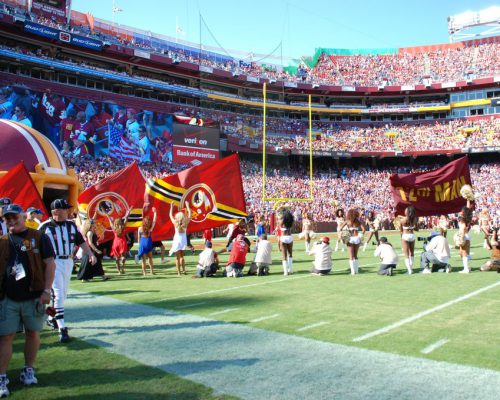 NFL Washington Redskins flags cheerleaders fans at FedEx Field