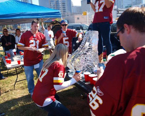 Washington Redskins fans party at tailgate lot on gameday