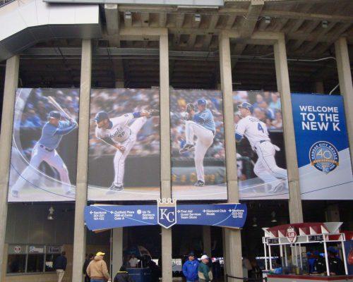 Kansas City Royals players David DeJesus Joakim Soria Zack Greinke Alex Gordon at Kauffman Stadium