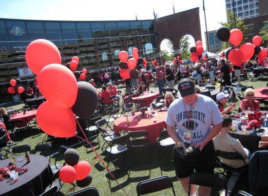 San Diego State Aztecs football fans having a pregame party