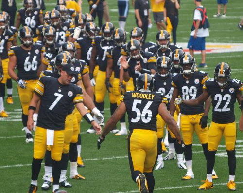 NFL football Pittsburgh Steelers players at the game