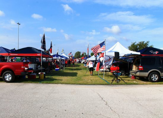 Houston Texans tailgaters party at tailgate lot