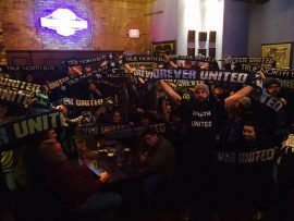 Minnesota Vikings fans at Town Hall Brewery beers
