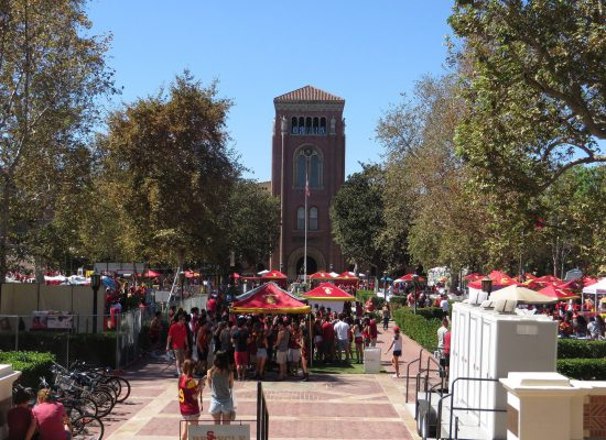 USC Trojans tailgating on campus
