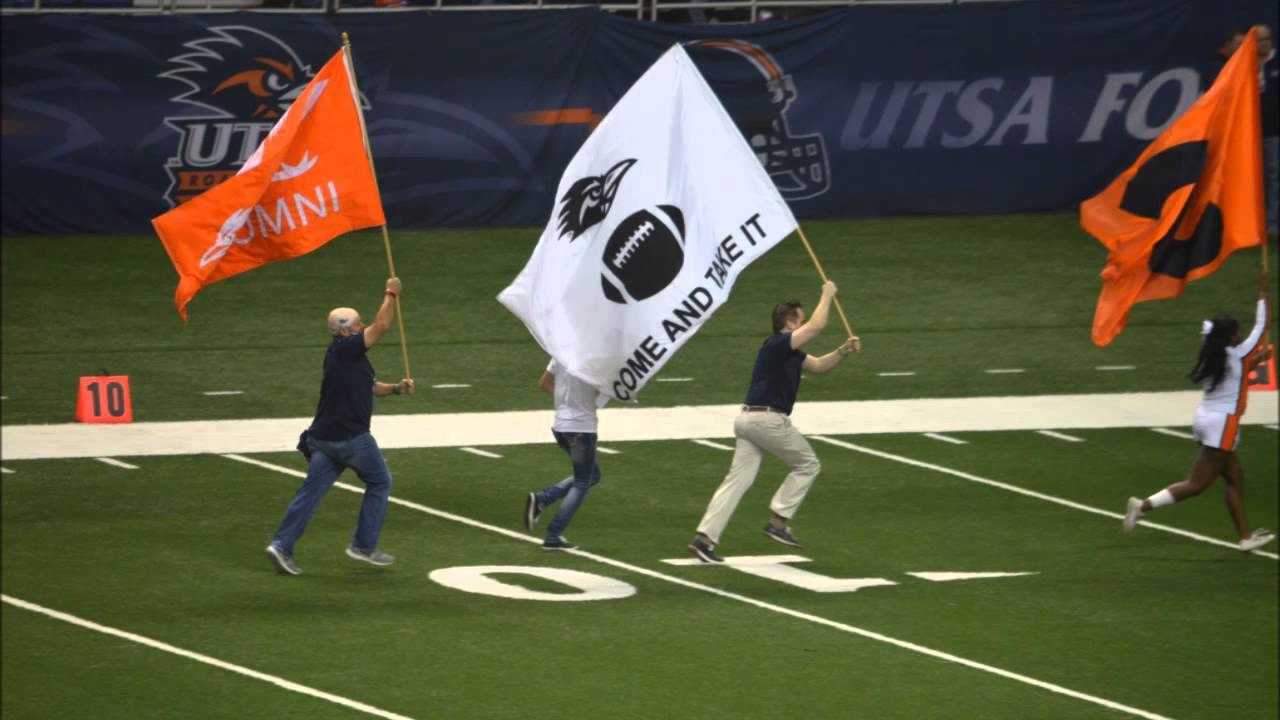 come and take it flag tradition before UTSA Roadrunners football game
