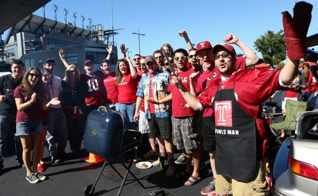 Temple Owls fans tailgating on football gameday