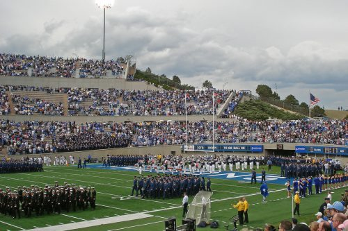 cadets marching into the stadium before the Air Force Falcons game