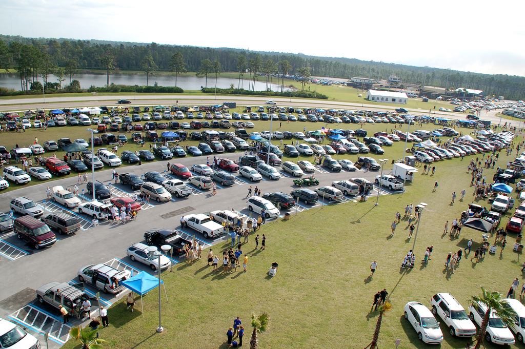 Tulsa Golden Hurricanes fans tailgating at parking lot on football gamedy