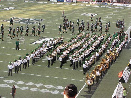 Hawaii Rainbow Warriors marching band performance at Aloha Stadium