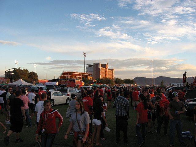 UNLV Rebels fans at the tailgate spot outside Sam Boyd Stadium