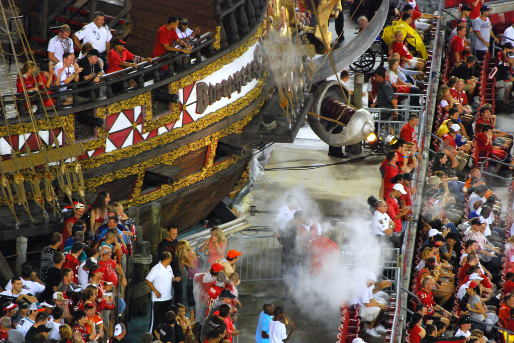 Tampa Bay Buccaneers fans and ship at Raymond James Stadium