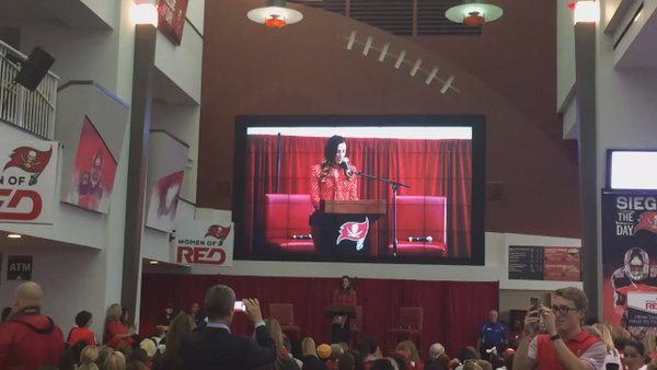 Red Tampa Bay Buccaneers women fan engagement program