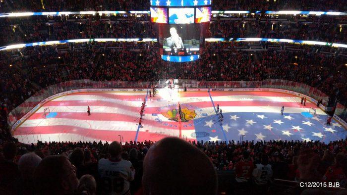 Chicago Blackhawks game at United Center US flag projection