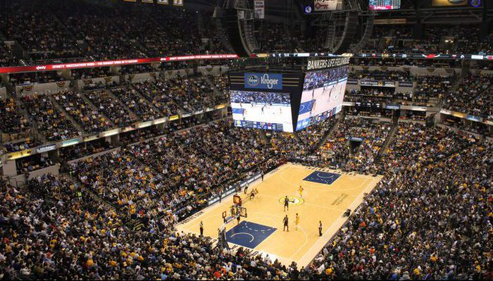 Indiana Pacers crowd game banners scoreboard