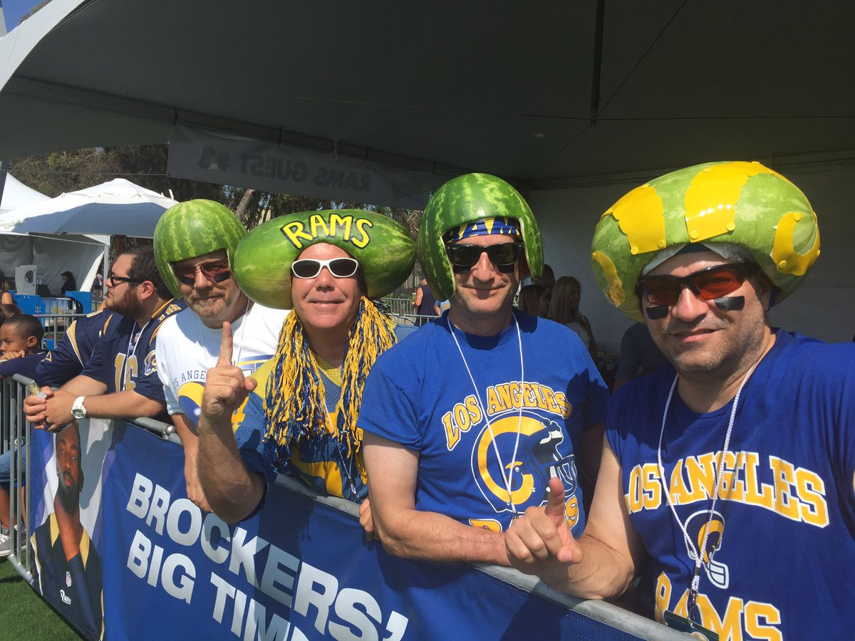 Los Angelels Rams dressed as Melon Heads