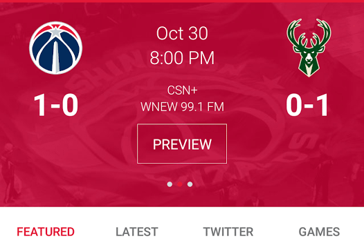 Washington Wizards mobile app