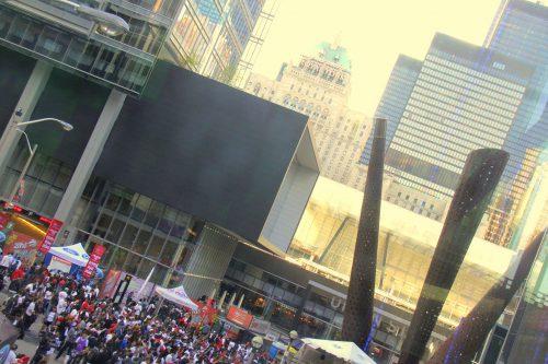Toronto Raptors fans viewing outside Scotiabank Arena