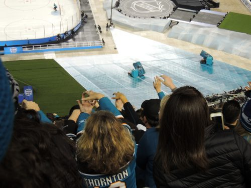 San Jose Sharks fans do the chomp