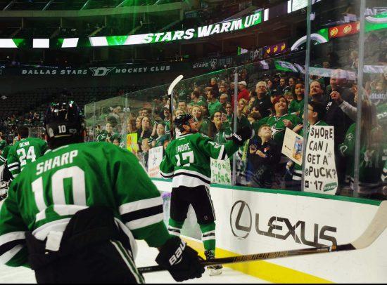 Dallas Stars hockey players celebrate victory