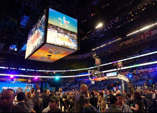 Smoothie King Center NBA All Star Game scoreboard
