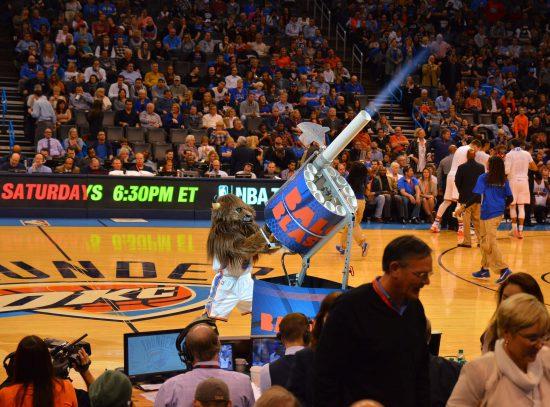 Oklahoma City Thunder mascot Rumble the Bison gigantic shirt launcher