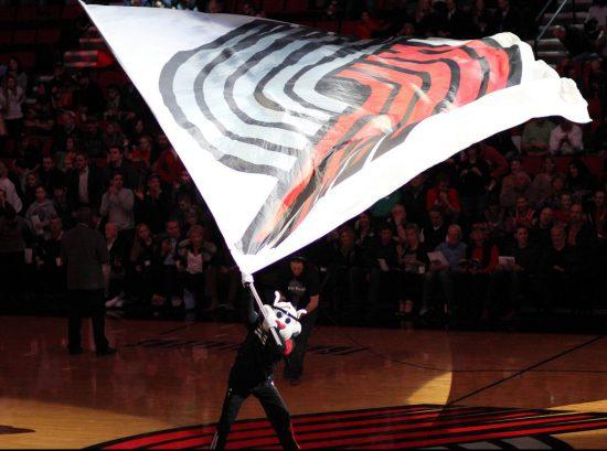 Portland Trail Blazers mascot Blaze flag