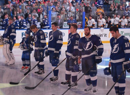 Tampa Bay Lightning players at the game