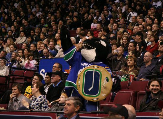 Vancouver Canucks mascot Fin the Whale