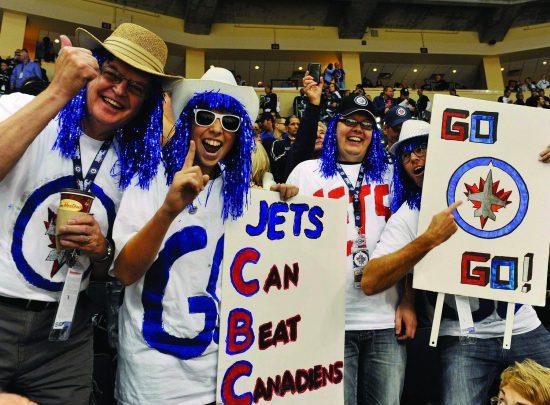 Winnipeg Jets fans cheering