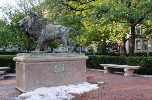 Columbia lion statue