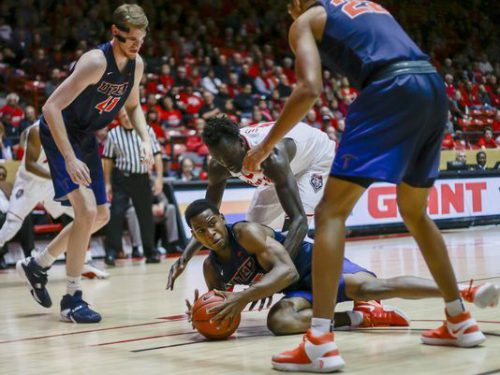 New Mexico Lobos vs UTEP Miners basketball players