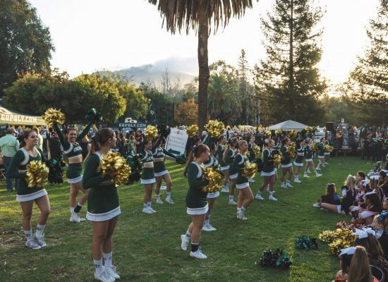 Cal Poly tailgate cheerleaders