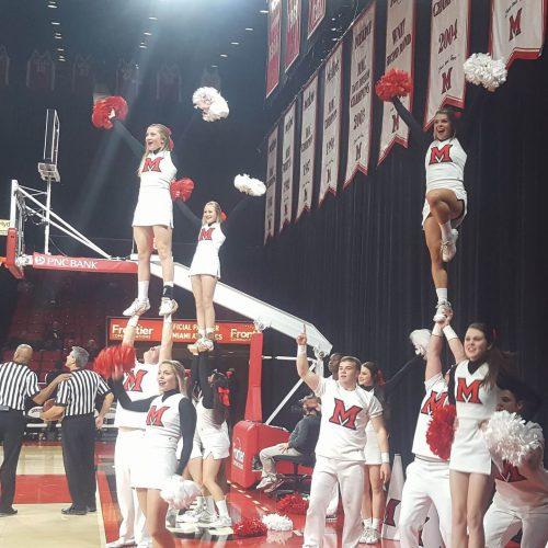 Miami RedHawks Basketball cheerleaders