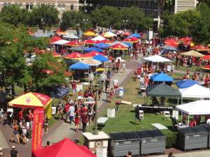 USC Trojans tailgating on campus before the game