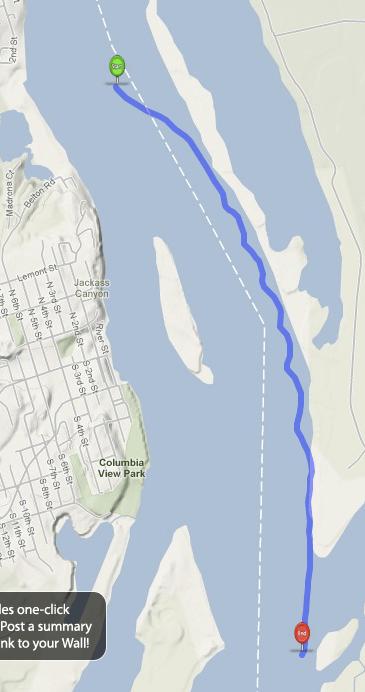 Rick's preferred route past Sand Island