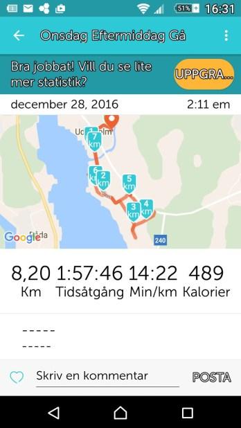 Runkeeper visar färdväg tid och hastighet. Ca 2 h med stopp för fotografering