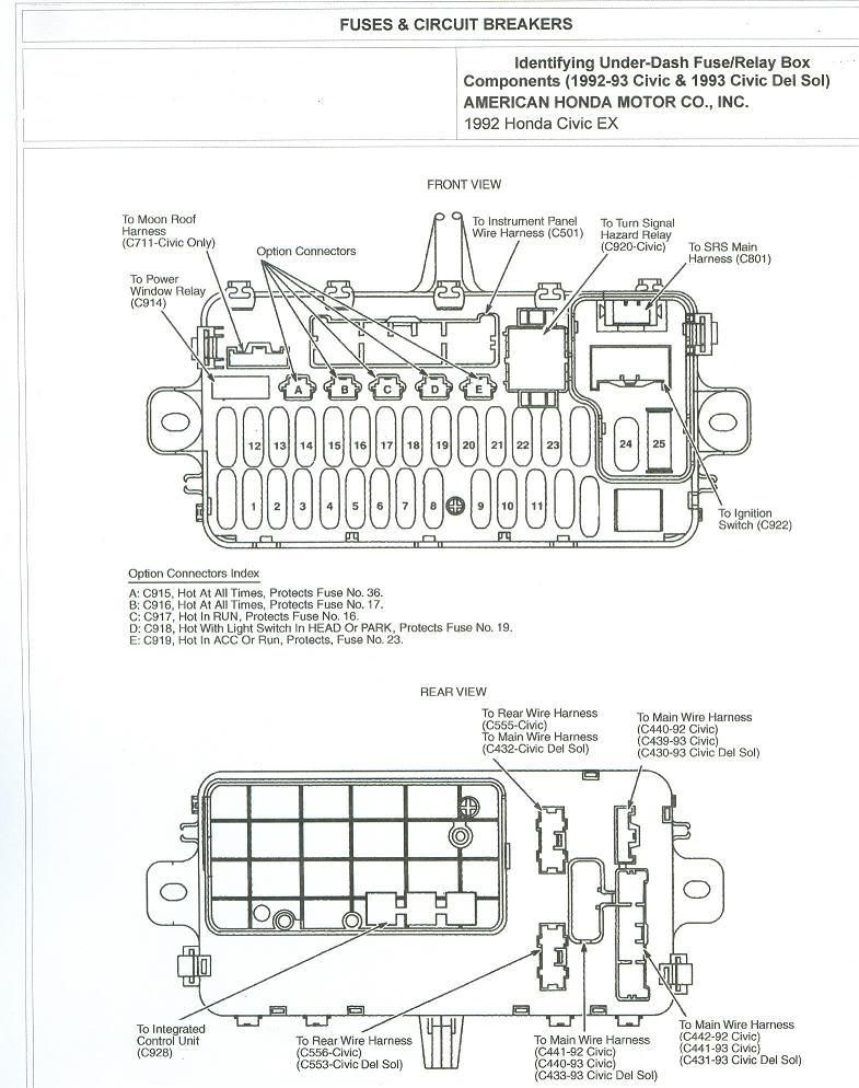 1993 accord ex 4dr under dash fuse diagram honda tech regarding honda civic fuse box diagram 2003 2010 honda civic fuse box 2010 free wiring diagrams Fuse Box Door at nearapp.co