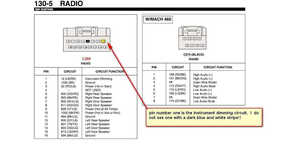 Radio Wiring Diagram 2001 Ford Mustang Co. 1998 Ford Contour ... on