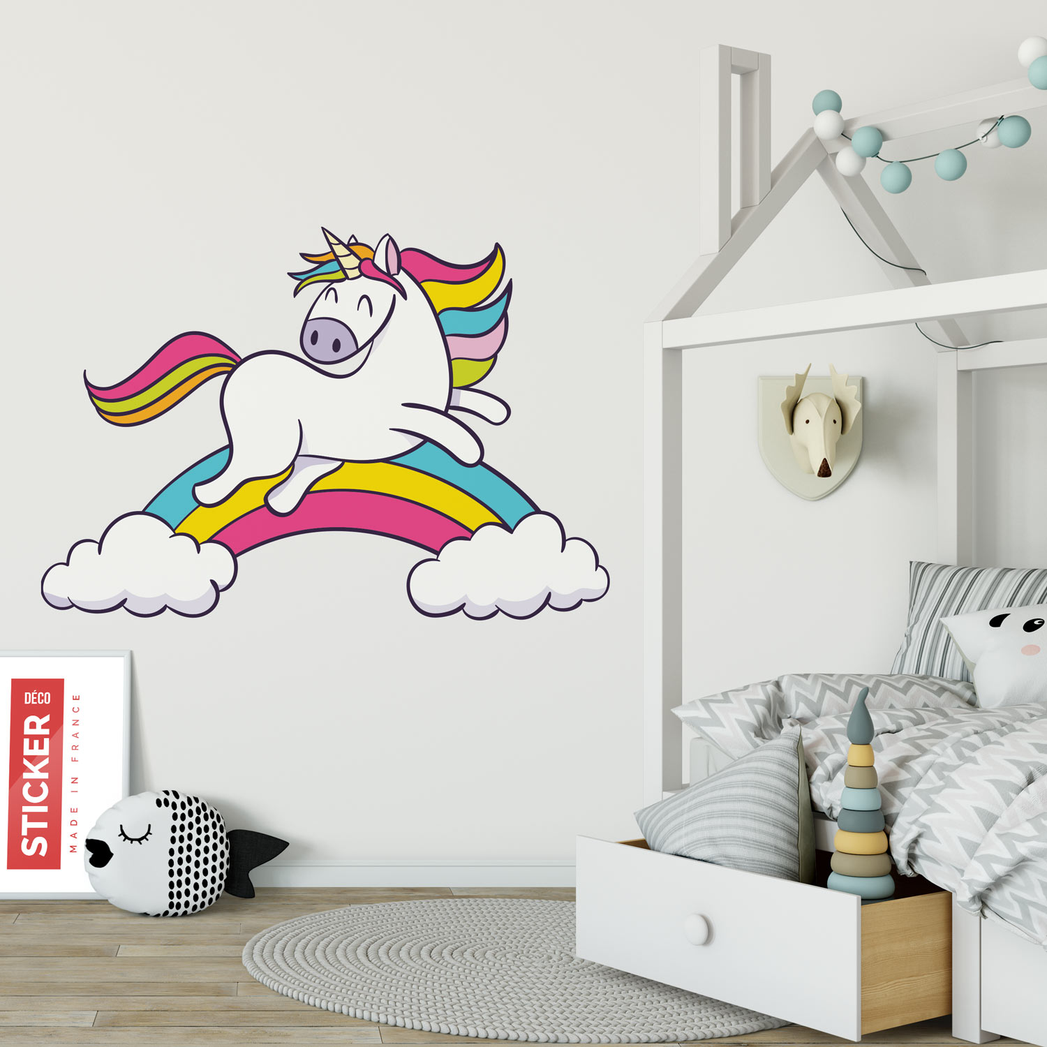 sticker licorne arc en ciel