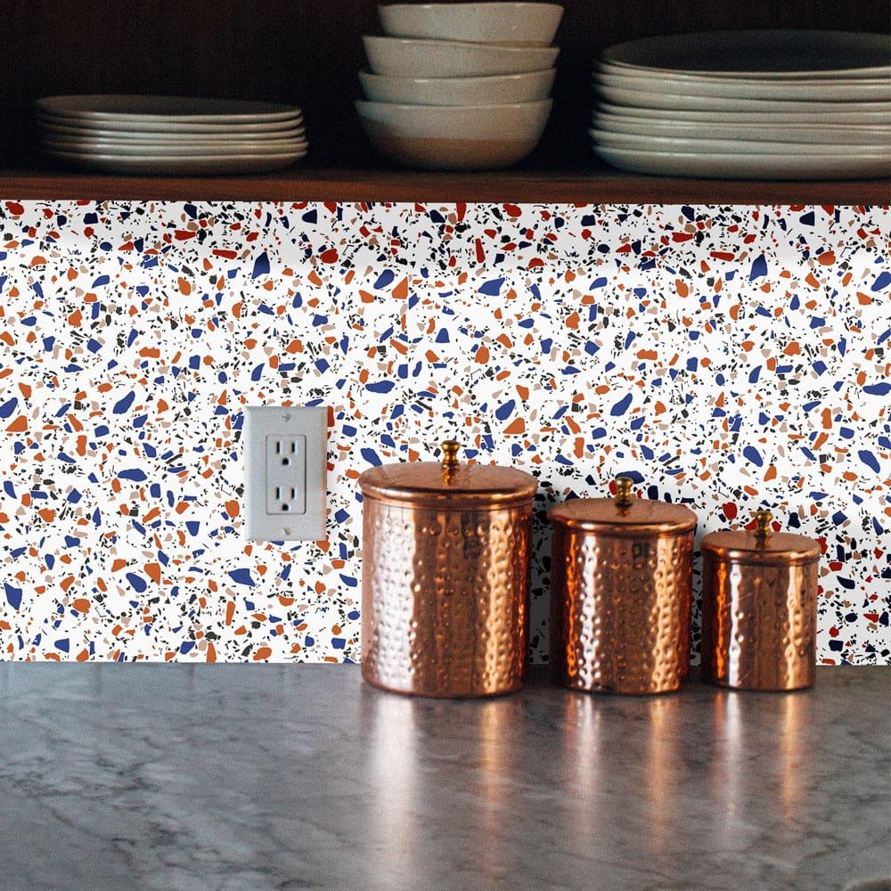credence adhesive terrazzo orange bleu
