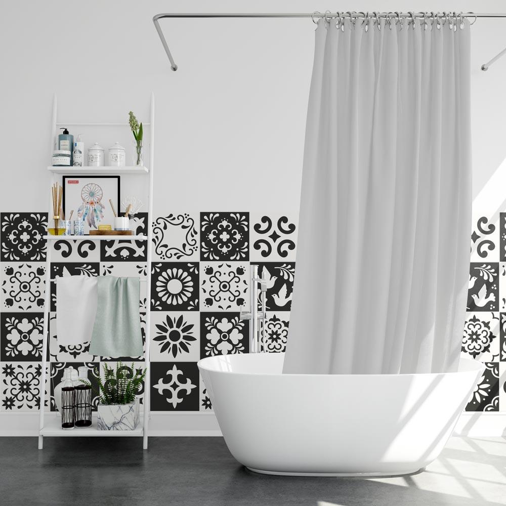 Stickers Carreaux De Ciment Noir Et Blanc Adhesifs Deco Stickerdeco Fr