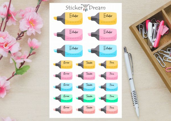 Sticker Dream - Cartela Dia de Estudar